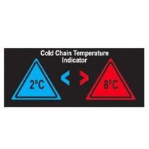 Etiqueta que cambia de color en función de la temperatura para control de la cadena del frío