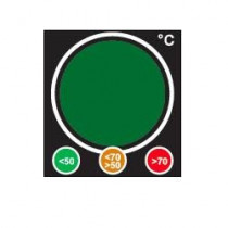 Reversible temperature label changing colour like a traffic light to detect overheating
