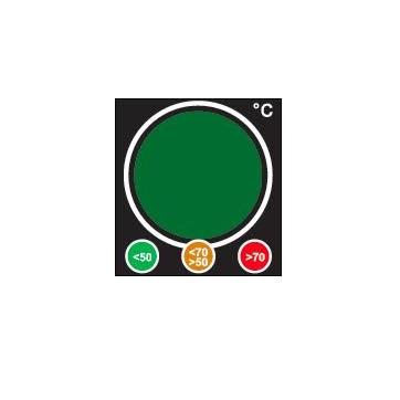 Etiqueta de temperatura reversível que muda de cor como um semáforo para detetar sobreaquecimentos