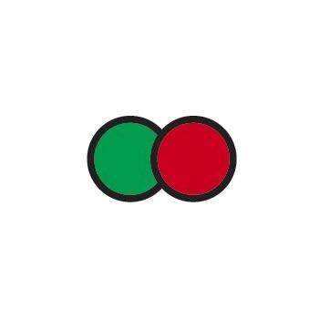 Indicador de temperatura reversible de dos estados verde y rojo